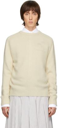 Thom Browne Off-White Jersey Stitch Center-Back Stripe Sweater