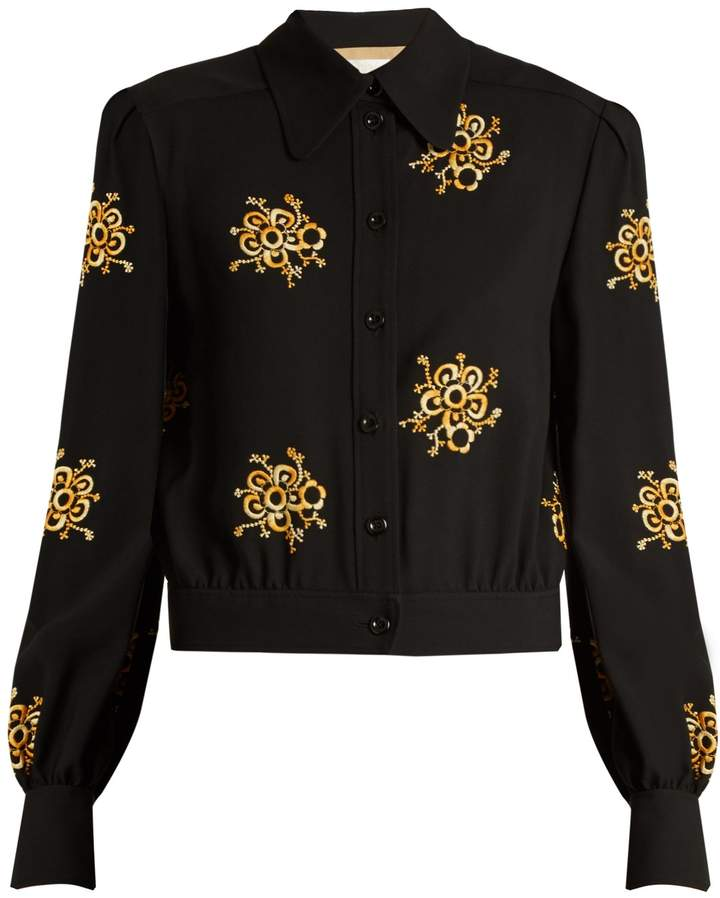Chloé Floral-embroidered cady top