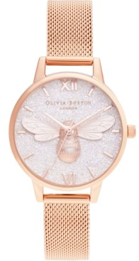 Olivia Burton Women's Lucky Bee Rose Gold-Tone Stainless Steel Mesh Bracelet Watch 30mm