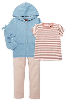 7 For All Mankind Baby's Little Girl's Three-Piece Denim Jacket, Tee Pants Set