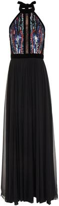 Elie Saab Lace-trimmed Sequined Velvet And Georgette Halterneck Gown