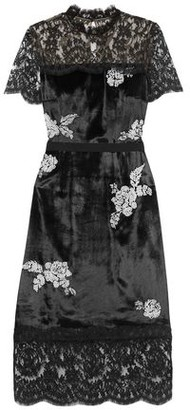 Erdem Keni Lace-paneled Faux Pearl-embellished Velvet Dress