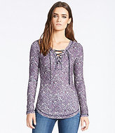 William Rast Lace-Up Floral-Printed Waffle-Knit Long-Sleeve Tee