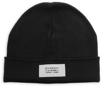 Givenchy Wool Blend Logo Patch Beanie