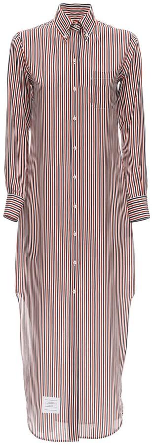 Thom Browne Striped Silk Shirt Dress