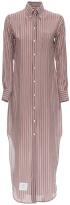 Thom Browne Striped Silk Shirt Dress