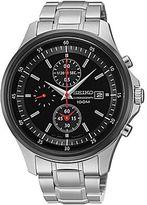 Seiko Mens Black & Silver-Tone Chronograph Watch