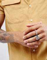 Asos Signet Ring Pack In Burnished Silver