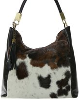 NOVARA Shoulder Bag Exclusive Italian Leather / Pony Hide Carelli Italia, with Cow Print