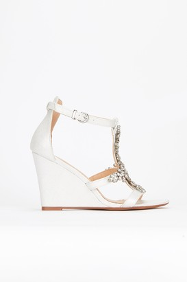 Wallis **White Jewelled Wedge Sandal