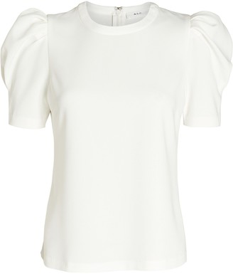 A.L.C. West Puff Sleeve Crepe Top