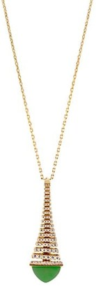 Marli Cleo By Rev 18K Yellow Gold, Green Jade & Diamond Pendant Long Necklace
