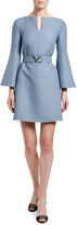 Valentino Wool-Silk Belted Bell-Sleeve Dress