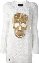 Philipp Plein skull cable knit sweater dress