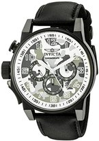 Invicta Men's 'I-Force' Quartz Stainless Steel and Black Leather Casual Watch (Model: 20540)