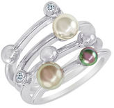 Majorica Sterling Silver Ring with Man-Made Organic Pearl Accents