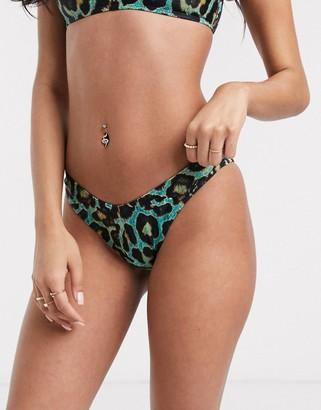 Luxe Palm neon leopard thong bikini bottom