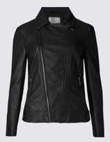 Marks and Spencer Faux Leather Biker Jacket with StormwearTM