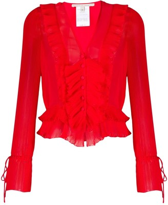 Marco De Vincenzo Pleated Ruffled Blouse