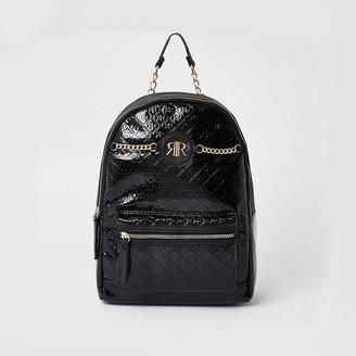 River Island Black patent monogram backpack