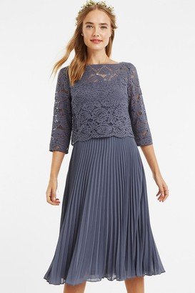 Oasis Mid Grey 3/4 Sleeve Lace Pleated Midi Dress