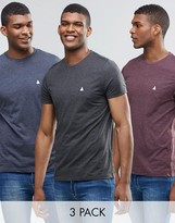 Asos 3 Pack T-Shirt With Logo In Navy/Oxblood/Charcoal Marl