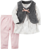 Carter's Sherpa Vest 3-pc. Legging Set-Baby Girls