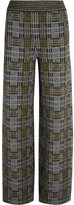 Bottega Veneta Plaid Stretch-knit Wide-leg Pants - Gray