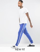 Asos Loungewear Skinny Jogger In Blue With White Side Stripe