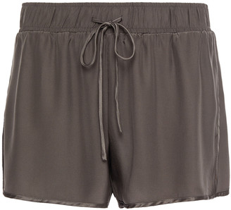 James Perse Satin-trimmed Silk Shorts