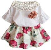 Baby Girls Summer Dress Outfits Sets,Franterd Short Sleeve Shirt + Flowers Skirt Set