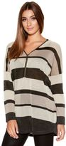 Quiz Black And Beige Lurex Stripe Knit Top