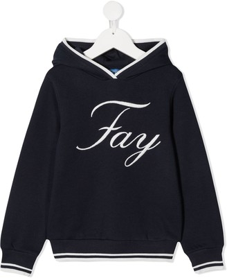 Fay Kids Embroidered Logo Hoodie