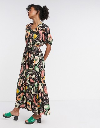 Selected Frutti printed ouff sleeve maxi dress in black