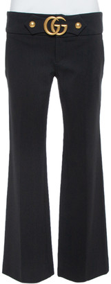 Gucci Black Knit GG Hardware Detail Stretch Mid-Rise Pants M