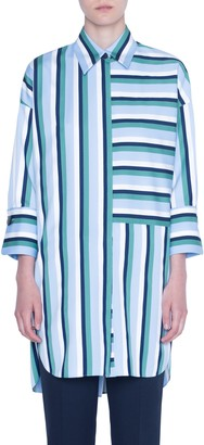 Akris Punto Patchwork Stripe Tunic Blouse