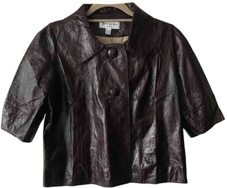 Betty Jackson Purple Leather Leather Jacket for Women