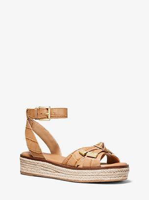 Michael Kors Ripley Crocodile-Embossed Leather Espadrille Sandal