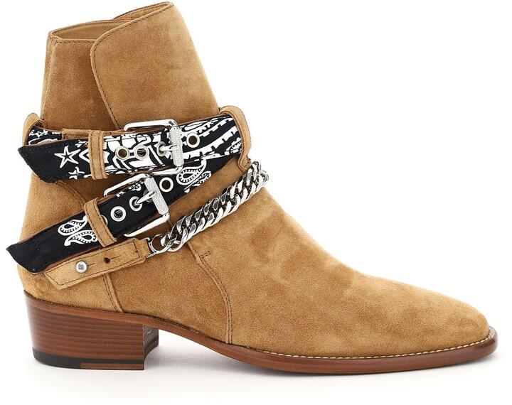 Amiri BANDANA BUCKLE BOOTS 40 Brown,Beige Leather
