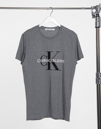 Calvin Klein Jeans iconic monogram slim t-shirt in gray