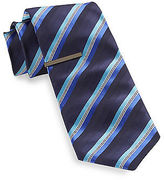 Gold Series Tonal Stripe Tie With Tie Bar Casual Male XL Big & Tall