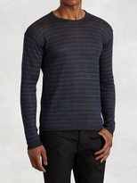John Varvatos Striped Long Sleeve Crew