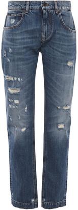 Dolce & Gabbana Appliqued Distressed Boyfriend Jeans