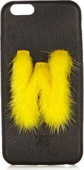 Fendi Leather Iphone 6 Case - Black Yellow