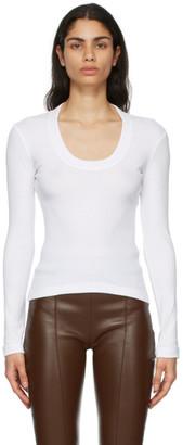 Rosetta Getty White U-Neck Long Sleeve T-Shirt