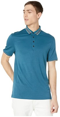 Ted Baker Teacups Short Sleeve Solid Contrast Collar Polo (Teal/Blue) Men's Clothing