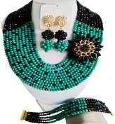 aczuv 10 Rows Women's Fashion Crystal Beaded Jewelry Set African Wedding Beads Bridal Jewelry Sets