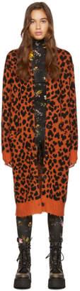 R 13 Orange Leopard Cashmere Long Cardigan
