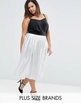 Elvi Plus Metallic Pleated Skirt