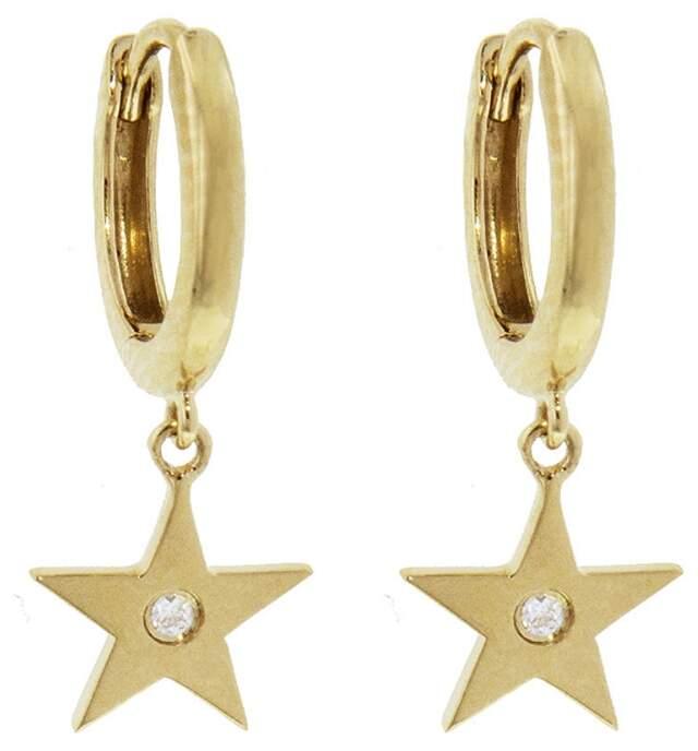 Andrea Fohrman Diamond Star Drop Earrings - Yellow Gold